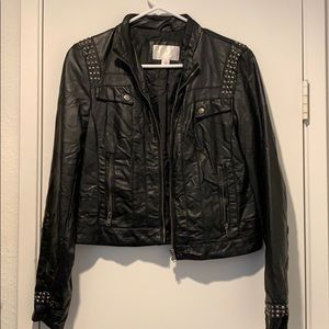 Faux leather jacket with stud detailing